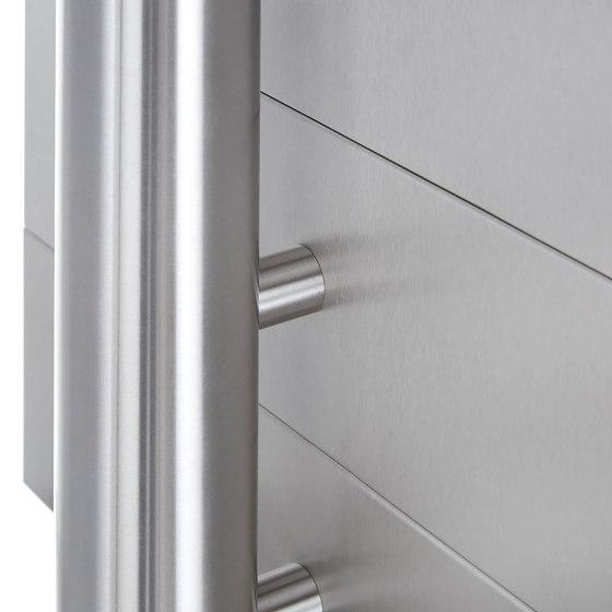 Basic | 12er Briefkastenanlage freistehend Design BASIC 385 ST-R - Edelstahl V2A, geschliffen by Briefkasten Manufaktur | Mailboxes