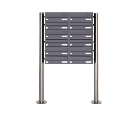Basic | 12er Briefkastenanlage freistehend Design BASIC 385 ST-R - RAL 7016 anthrazitgrau by Briefkasten Manufaktur | Mailboxes