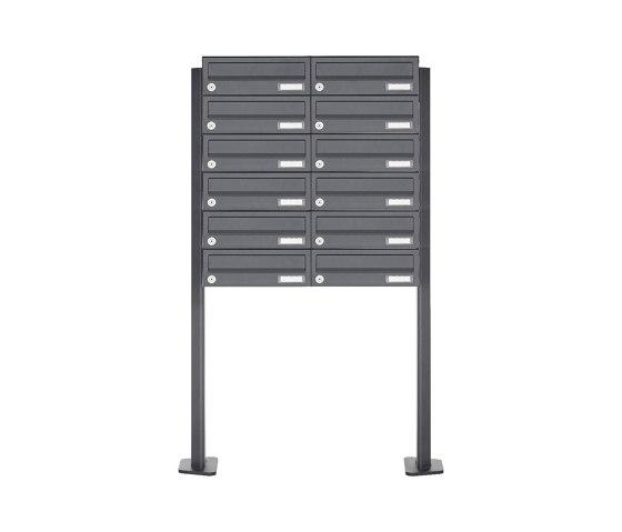 Basic   12er Briefkastenanlage freistehend Design BASIC 385P-7016 ST-T - RAL 7016 anthrazitgrau by Briefkasten Manufaktur   Mailboxes