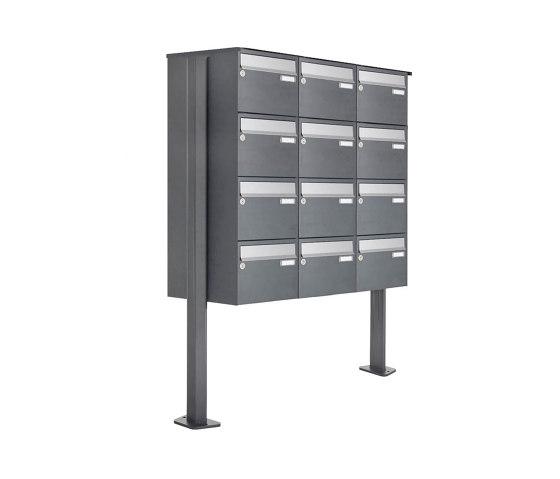 Basic | 12er Briefkastenanlage freistehend Design BASIC Plus 385XP ST-T - Edelstahl-RAL nach Wahl by Briefkasten Manufaktur | Mailboxes