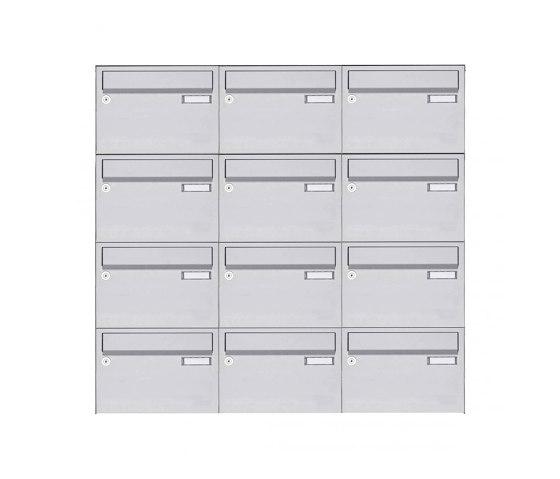 Basic   12er Edelstahl Aufputz Briefkastenanlage Design BASIC 385 A 220 - Edelstahl V2A geschliffen by Briefkasten Manufaktur   Mailboxes