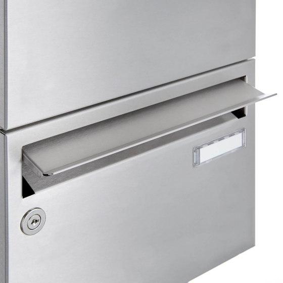 Basic | 12er Edelstahl Standbriefkasten BASIC Plus 385X220 ST-P - GIRA System 106 - 5-fach vorbereitet Rechts by Briefkasten Manufaktur | Mailboxes
