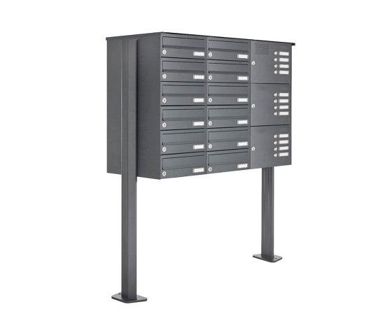 Basic   12er Standbriefkasten Design BASIC 385P ST-T mit Klingelkasten - RAL 7016 anthrazitgrau Rechts by Briefkasten Manufaktur   Mailboxes