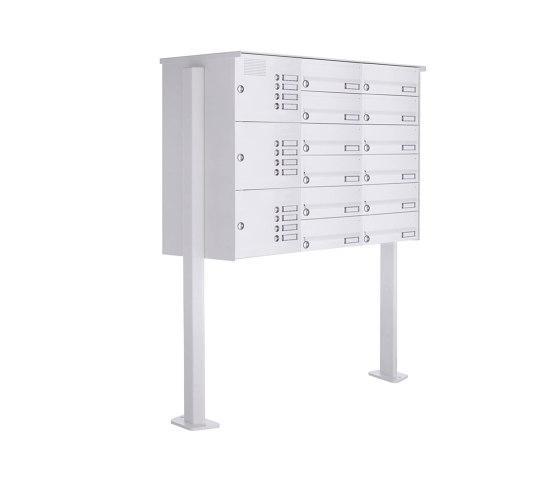 Basic   12er Standbriefkasten Design BASIC 385P-9016 ST-T mit Klingelkasten - RAL 9016 verkehrsweiß Rechts by Briefkasten Manufaktur   Mailboxes