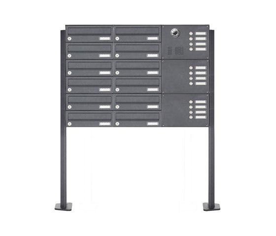 Basic | 12er Standbriefkasten Design BASIC Plus 385 KXP SP mit Klingel & Sprech - Kameravorbereitung Rechts by Briefkasten Manufaktur | Mailboxes