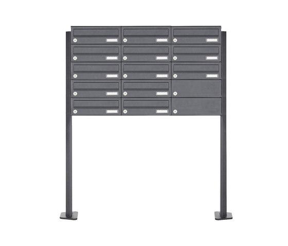 Basic | 13er 5x3 Edelstahl Briefkastenanlage freistehend Design BASIC Plus 385XP ST-T - RAL nach Wahl by Briefkasten Manufaktur | Mailboxes