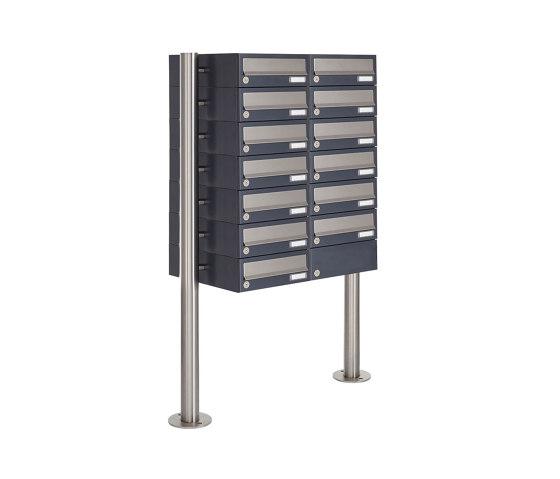 Basic | 13er Briefkastenanlage freistehend Design BASIC 385 ST-R - Edelstahl-RAL 7016 anthrazitgrau by Briefkasten Manufaktur | Mailboxes