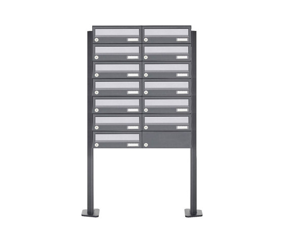 Basic | 13er Briefkastenanlage freistehend Design BASIC 385P ST-T - Edelstahl-RAL 7016 anthrazitgrau by Briefkasten Manufaktur | Mailboxes
