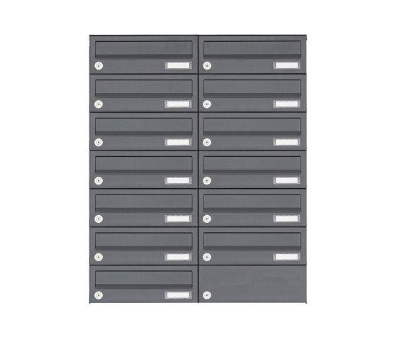 Basic | 13er Edelstahl Aufputz Briefkastenanlage Design BASIC Plus 385XA AP - RAL nach Wahl by Briefkasten Manufaktur | Mailboxes