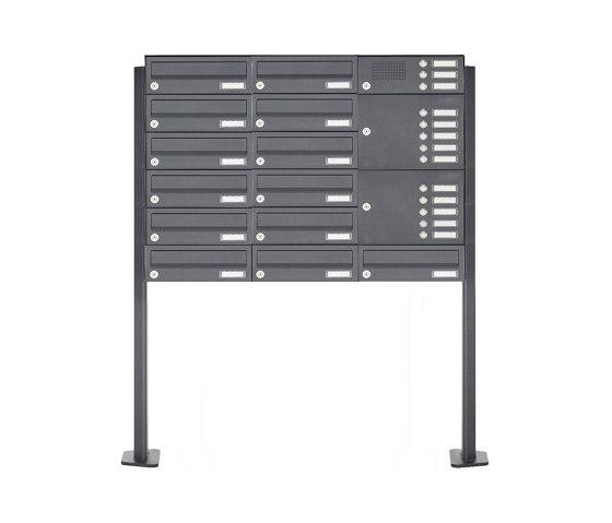 Basic | 13er Edelstahl Standbriefkastenanlage Design BASIC Plus 385XP ST-T mit Klingelkasten - RAL nach Wahl Rechts by Briefkasten Manufaktur | Mailboxes