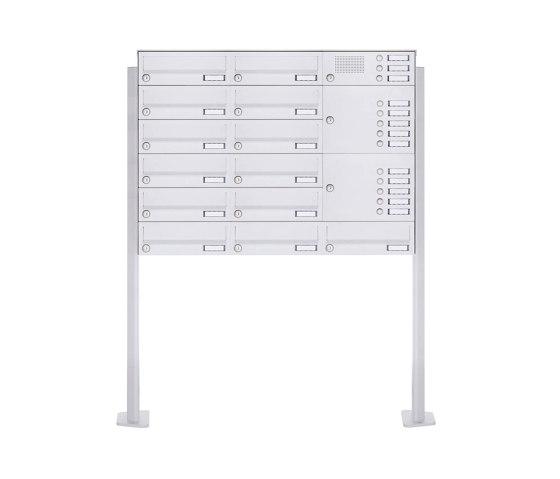 Basic | 13er Standbriefkasten Design BASIC 385P-9016 ST-T mit Klingelkasten - RAL 9016 verkehrsweiß Rechts by Briefkasten Manufaktur | Mailboxes