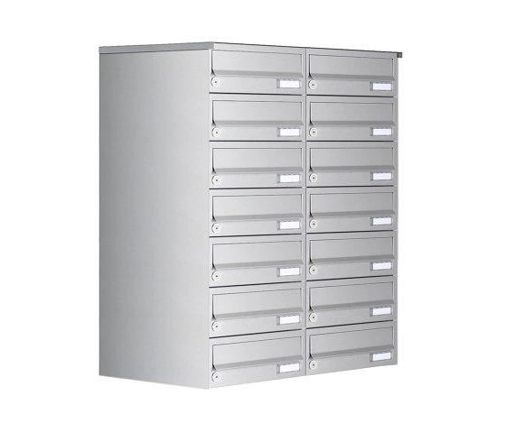 Basic   14er 7x2 Aufputz Briefkastenanlage Design BASIC 385A AP - Edelstahl V2A, geschliffen by Briefkasten Manufaktur   Mailboxes