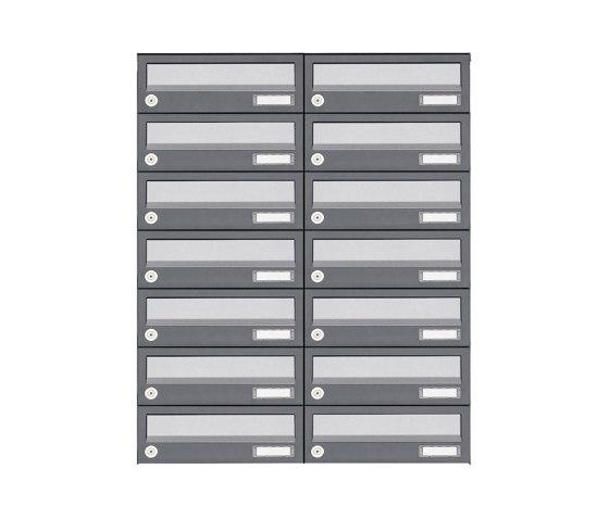 Basic | 14er 7x2 Aufputz Briefkastenanlage Design BASIC 385A AP - Edelstahl-RAL 7016 anthrazit by Briefkasten Manufaktur | Mailboxes