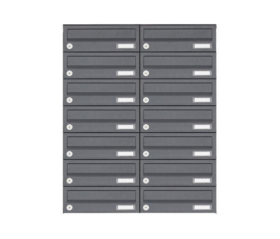 Basic | 14er 7x2 Aufputz Briefkastenanlage Design BASIC 385A AP - RAL 7016 anthrazitgrau by Briefkasten Manufaktur | Mailboxes