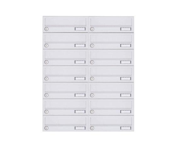 Basic | 14er 7x2 Aufputz Briefkastenanlage Design BASIC 385A-9016 AP - RAL 9016 verkehrsweiß by Briefkasten Manufaktur | Mailboxes