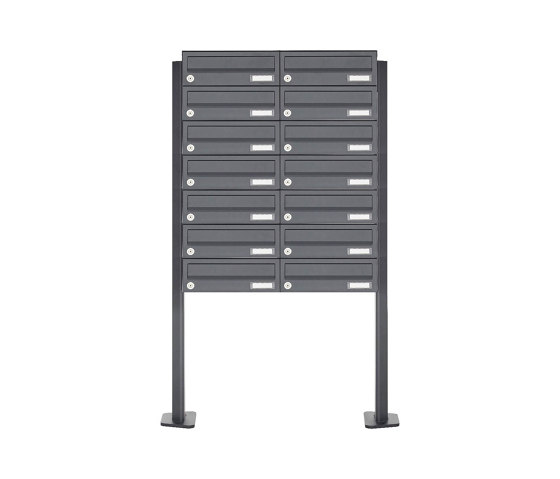 Basic   14er 7x2 Edelstahl Briefkastenanlage freistehend Design BASIC Plus 385XP ST-T - RAL nach Wahl by Briefkasten Manufaktur   Mailboxes