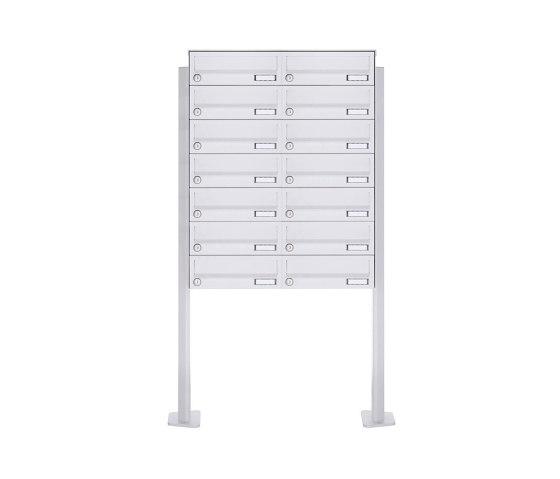 Basic | 14er 7x2 Standbriefkasten Design BASIC 385P-9016 ST-T - RAL 9016 verkehrsweiß by Briefkasten Manufaktur | Mailboxes