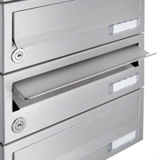 Basic | 14er Briefkastenanlage freistehend Design BASIC 385 ST-R - Edelstahl V2A, geschliffen by Briefkasten Manufaktur | Mailboxes