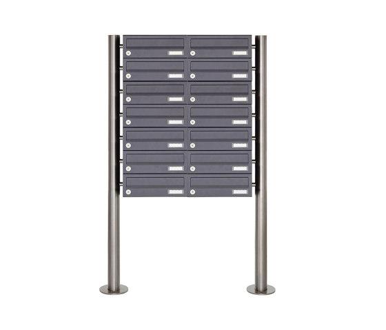 Basic | 14er Briefkastenanlage freistehend Design BASIC 385 ST-R - RAL 7016 anthrazitgrau by Briefkasten Manufaktur | Mailboxes