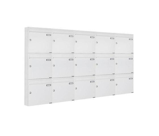 Basic | 15er 3x5 Aufputz Briefkastenanlage Design BASIC 382A AP - RAL 9016 verkehrsweiß 100mm Tiefe by Briefkasten Manufaktur | Mailboxes