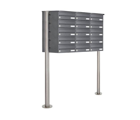 Basic | 15er 5x3 Edelstahl Standbriefkasten Design BASIC Plus 385 X ST R - RAL nach Wahl by Briefkasten Manufaktur | Mailboxes