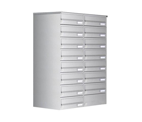 Basic   15er 8x2 Aufputz Briefkastenanlage Design BASIC 385A- VA AP - Edelstahl V2A, geschliffen by Briefkasten Manufaktur   Mailboxes