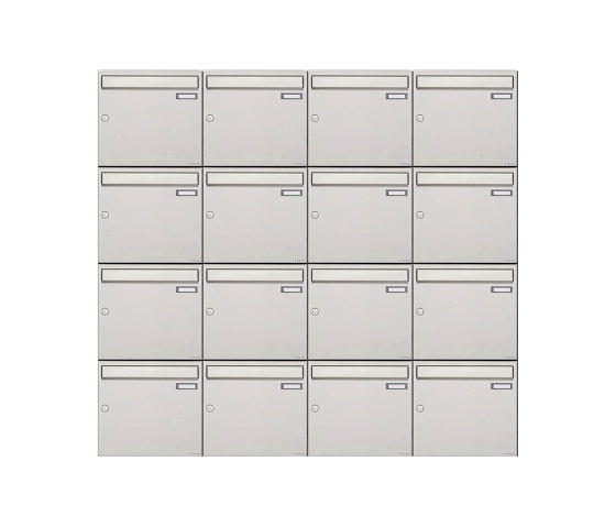 Basic   16er 4x4 Edelstahl Aufputz Briefkastenanlage Design BASIC 382A-AP Edelstahl V2A, geschliffen 100mm Tiefe by Briefkasten Manufaktur   Mailboxes