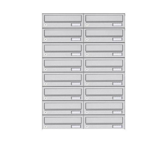 Basic | 16er 8x2 Aufputz Briefkastenanlage Design BASIC 385A- VA AP - Edelstahl V2A, geschliffen by Briefkasten Manufaktur | Mailboxes