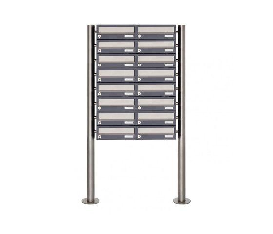 Basic | 16er 8x2 Briefkastenanlage freistehend Design BASIC 385 ST-R - Edelstahl-RAL 7016 anthrazitgrau by Briefkasten Manufaktur | Mailboxes