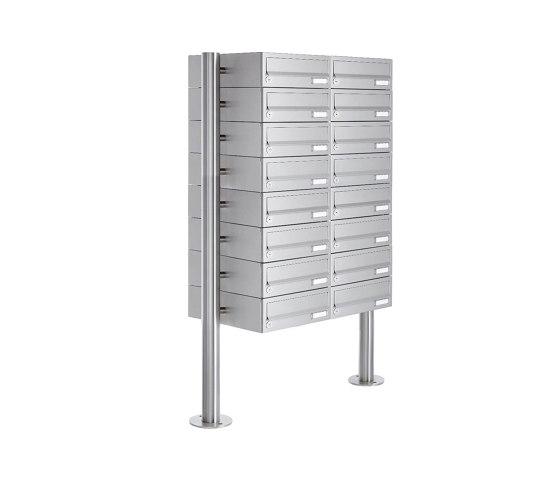 Basic | 16er Briefkastenanlage freistehend Design BASIC 385-VA ST-R - Edelstahl V2A, geschliffen by Briefkasten Manufaktur | Mailboxes