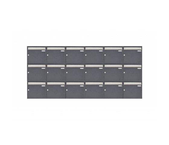 Basic | 18er 3x6 Aufputz Briefkastenanlage Design BASIC 382 AP - Edelstahl-RAL 7016 anthrazitgrau 100mm Tiefe by Briefkasten Manufaktur | Mailboxes