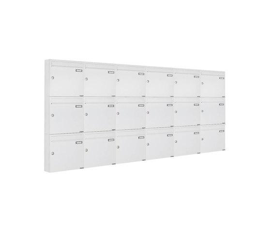 Basic | 18er 3x6 Aufputz Briefkastenanlage Design BASIC 382A AP - RAL 9016 verkehrsweiß 100mm Tiefe by Briefkasten Manufaktur | Mailboxes