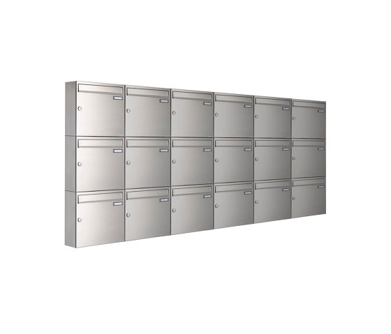 Basic   18er 3x6 Edelstahl Aufputz Briefkastenanlage Design BASIC 382A-AP Edelstahl V2A, geschliffen 100mm Tiefe by Briefkasten Manufaktur   Mailboxes