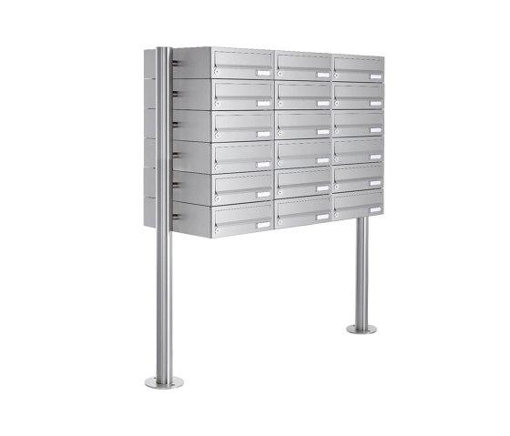 Basic | 18er Briefkastenanlage freistehend Design BASIC 385-VA ST-R - Edelstahl V2A, geschliffen by Briefkasten Manufaktur | Mailboxes