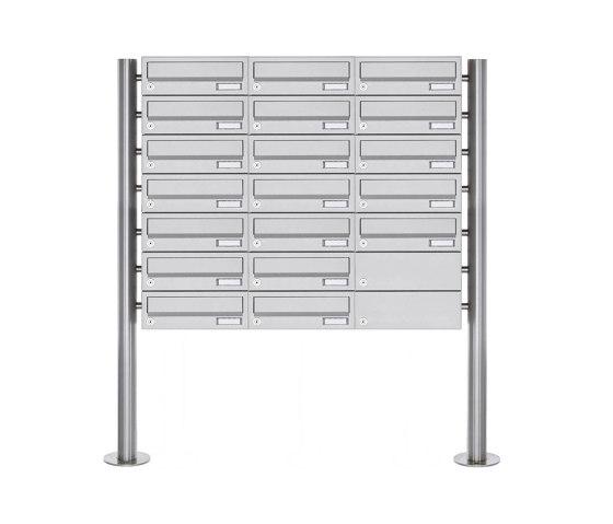 Basic | 19er Briefkastenanlage freistehend Design BASIC 385-VA ST-R - Edelstahl V2A, geschliffen by Briefkasten Manufaktur | Mailboxes