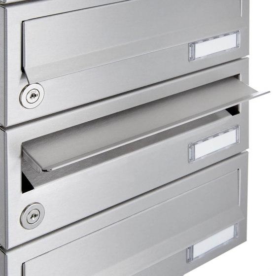 Basic | 1er Aufputz Briefkastenanlage Design BASIC 385A AP mit Klingelkasten - Edelstahl V2A, geschliffen by Briefkasten Manufaktur | Mailboxes