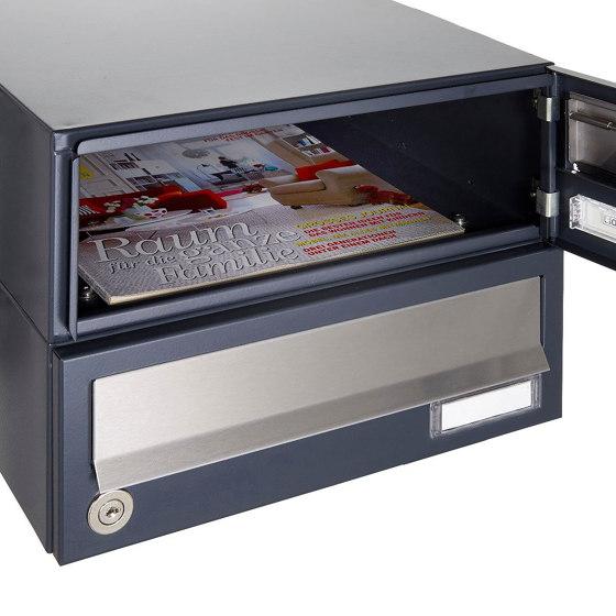 Basic | 1er Aufputz Briefkastenanlage Design BASIC Plus 385 XA 220 - Edelstahl - RAL nach Wahl by Briefkasten Manufaktur | Mailboxes