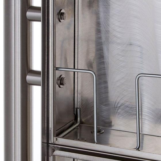 Basic | 1er Edelstahl Standbriefkasten Design BASIC Plus 381X ST R - Edelstahl V2A geschliffen 100mm Tiefe by Briefkasten Manufaktur | Mailboxes