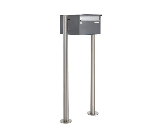 Basic | 1er Edelstahl Standbriefkasten Design BASIC Plus 385 220 X ST R - Edelstahl - RAL nach Wahl by Briefkasten Manufaktur | Mailboxes