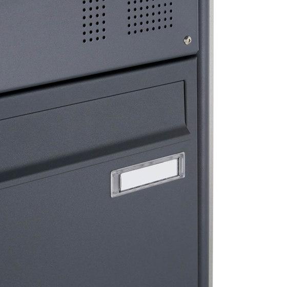 Basic | 2-fach Standbriefkasten Design BASIC 383 ST-R mit Klingelkasten & Zeitungsfach - RAL 7016 anthrazit Oben 100mm Tiefe by Briefkasten Manufaktur | Mailboxes