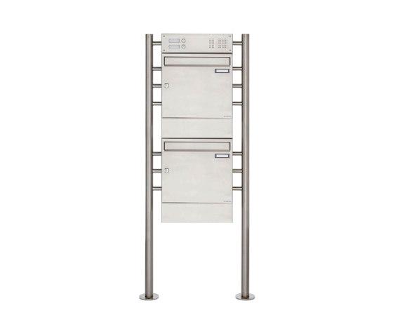 Basic | 2er 2x1 Edelstahl Standbriefkasten Design BASIC 381 ST-R mit Klingelkasten & Zeitungsfach by Briefkasten Manufaktur | Mailboxes