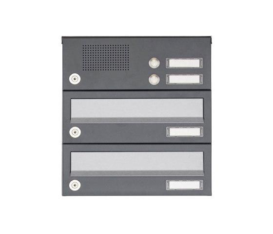 Basic   2er Aufputz Briefkastenanlage Design BASIC 385A AP mit Klingelkasten - Edelstahl-RAL 7016 anthrazit by Briefkasten Manufaktur   Mailboxes