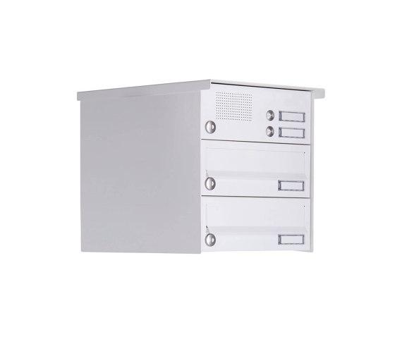 Basic   2er Aufputz Briefkastenanlage Design BASIC 385A-9016 AP mit Klingelkasten - RAL 9016 verkehrsweiß by Briefkasten Manufaktur   Mailboxes