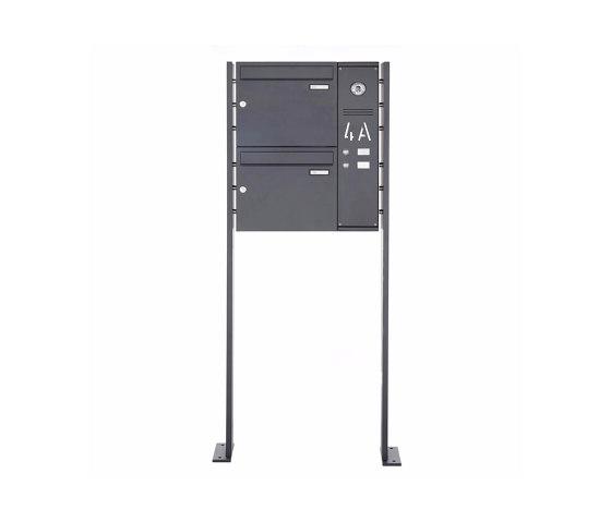 Basic | 2er Edelstahl Standbriefkasten BASIC Plus 592C ST-P pulverbeschichtet - Klingelkasten - INDIVIDUELL Rechts by Briefkasten Manufaktur | Mailboxes
