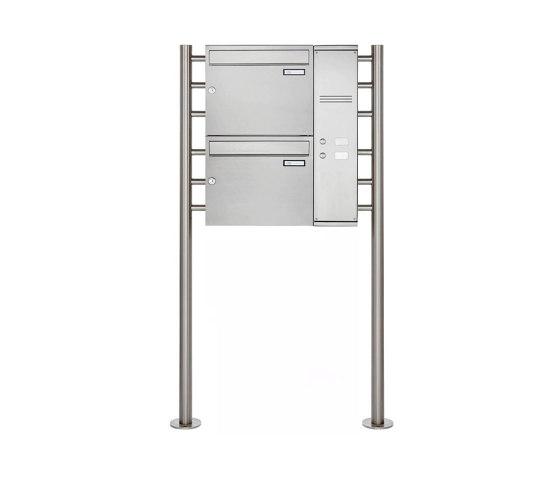 Basic   2er Edelstahl Standbriefkasten BASIC Plus 593 ST-R - Klingelkasten - INDIVIDUELL Rechts by Briefkasten Manufaktur   Mailboxes