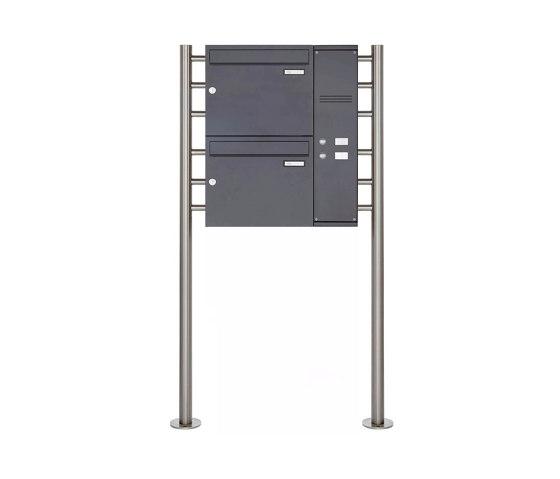 Basic | 2er Edelstahl Standbriefkasten BASIC Plus 593 ST-R pulverbeschichtet - Klingelkasten - INDIVIDUELL Rechts by Briefkasten Manufaktur | Mailboxes