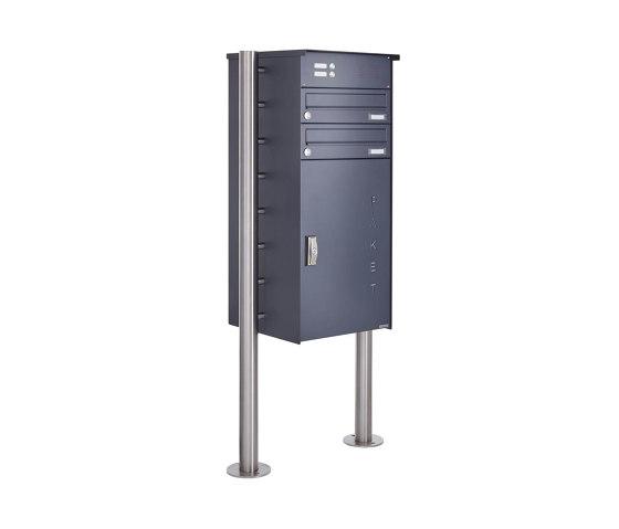 Basic | 2er Paketbriefkasten freistehend BASIC 863 ST-R mit Klingelkasten & Paketfach 550x370 in RAL 7016 by Briefkasten Manufaktur | Mailboxes