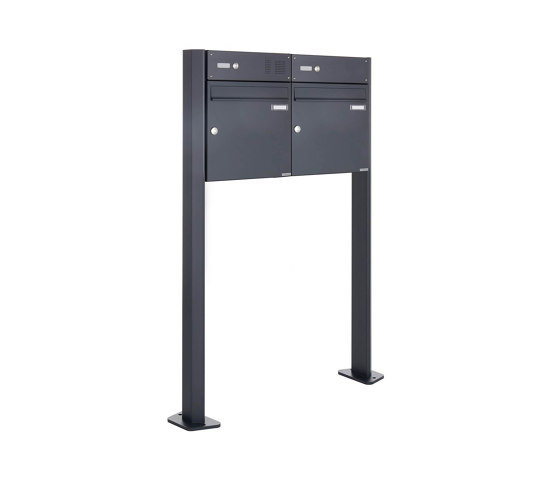 Basic | 2er Standbriefkasten Design BASIC 380 W ST-T mit Klingelkasten - RAL 7016 anthrazitgrau 100mm Tiefe by Briefkasten Manufaktur | Mailboxes