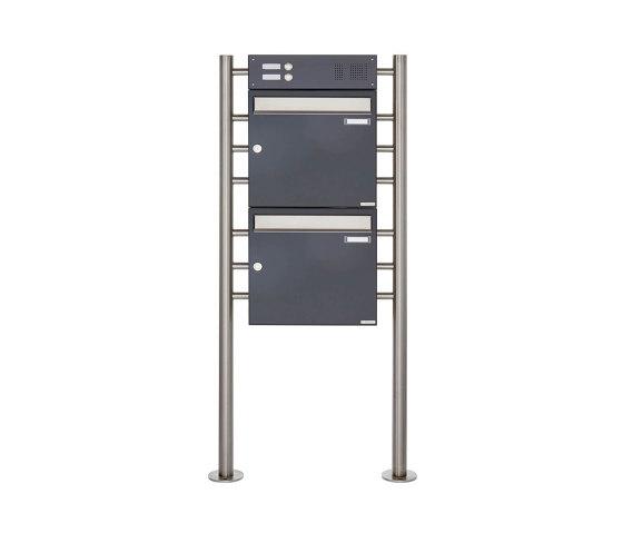 Basic | 2er Standbriefkasten Design BASIC 381 ST-R mit Klingelkasten - Edelstahl-RAL 7016 anthrazitgrau Oben 100mm Tiefe by Briefkasten Manufaktur | Mailboxes