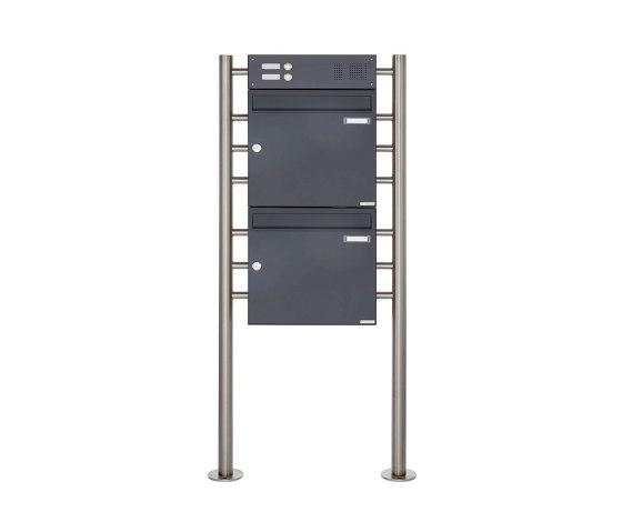 Basic | 2er Standbriefkasten Design BASIC 381 ST-R mit Klingelkasten - RAL 7016 anthrazitgrau Oben 100mm Tiefe by Briefkasten Manufaktur | Mailboxes